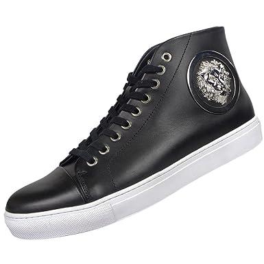 93c61d5eb3 Amazon.com | Versace Versus FSU564C Leather High Top Black/White ...