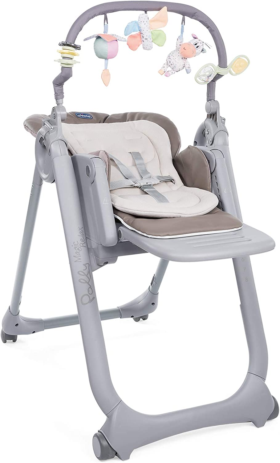 Chicco Polly Magic Relax Trona y hamaca evolutiva con barra de juegos, plegable y compacta, con 4 ruedas y freno, de 0 a 3 años, color marrón beige (Cocoa)