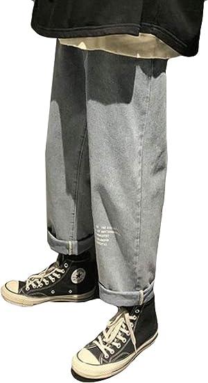 AOZUOデニムパンツ メンズ ストレート 九分丈 ジーンズ 大きいサイズ ワイド 美脚 英字付き ガウチョパンツ 秋 冬 ロングパンツ メンズ 通学 お出掛け カジュアルパンツ