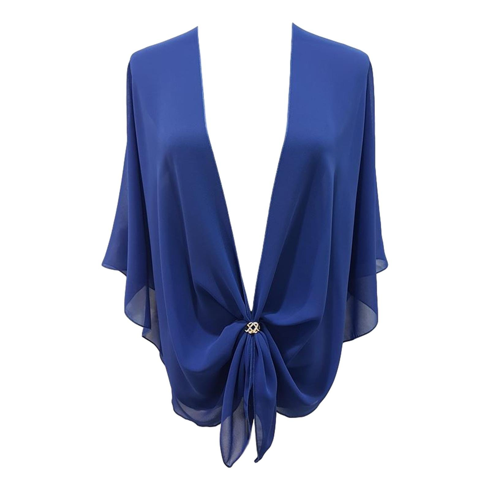eXcaped Women's Sheer Chiffon Open Front Evening Shawl Wrap with Rose Gold Scarf Ring (Royal)