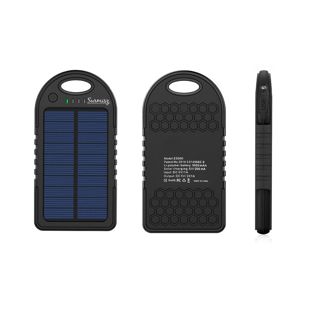 5000mAh External Solar Battery Charger – Solar Portable Smartphone Charger with USB Port – Compatible with Android, iPhone – Waterproof – LED Light Indicator – Ideal for Emergency, Camping, Trips