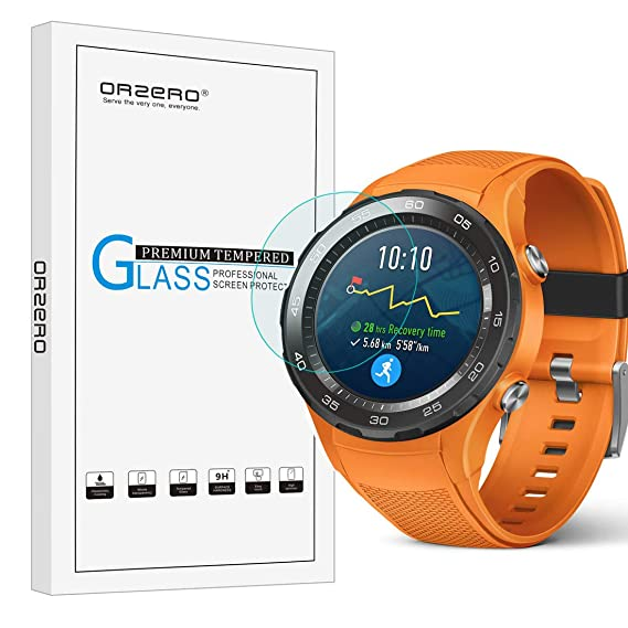 [3 Pack] Orzero for Huawei Watch 2 2018 / Watch 2 / Watch 2 Sport / Watch 2 Classic(Not fit for 1st Version) Tempered Glass Screen Protector, 2.5D Arc ...