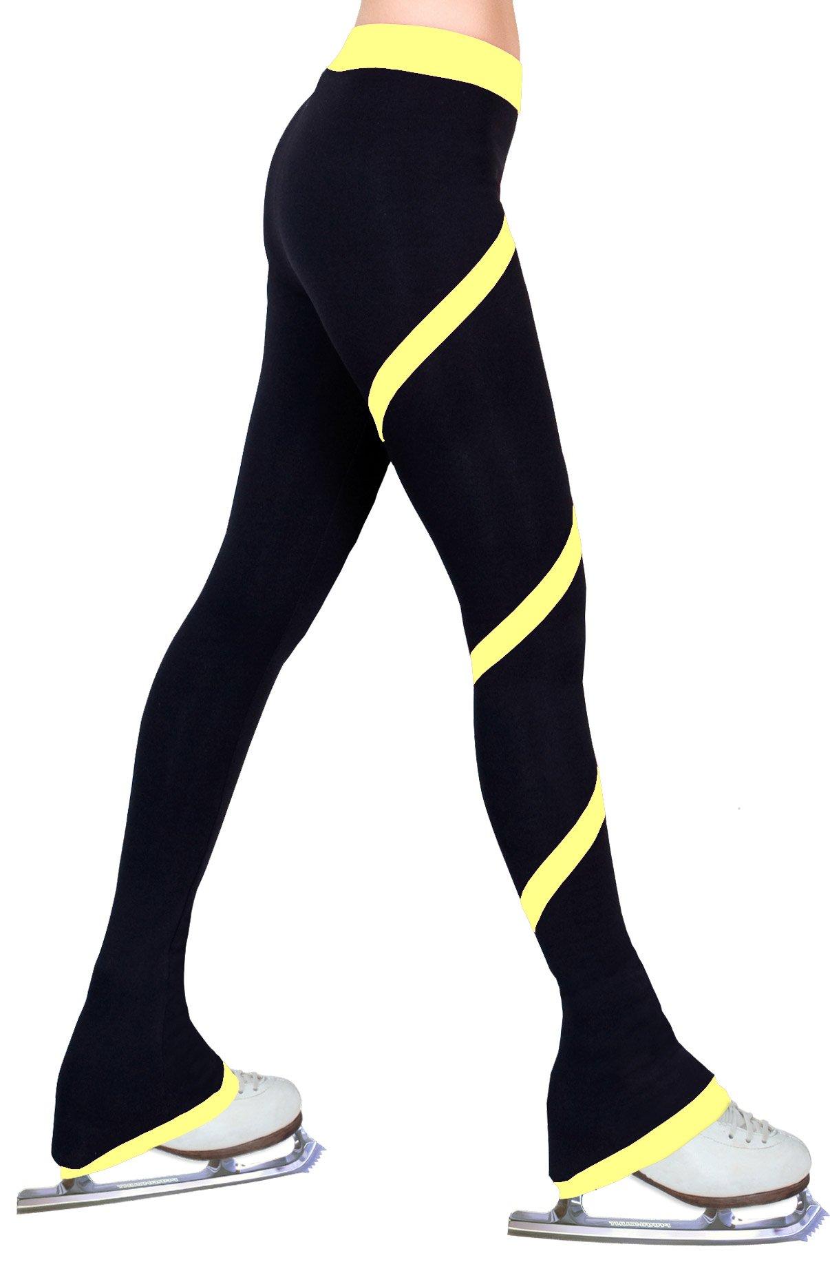 ny2 Sportswear Figure Skating Spiral Polartec Polar Fleece Pants (Yellow, Child Extra Small) by ny2 Sportswear