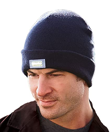 c8a39389006 HZM Unisex 5 LED Knitted Flashlight Beanie Hat cap with gift bracelet£¬Navy