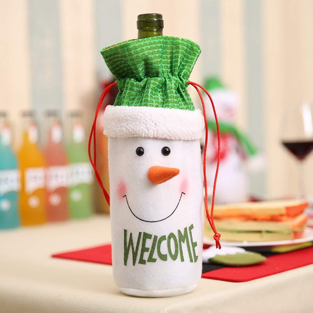 Sacchetto di Bottiglia di Vino di Natale, Regalo di Natale Buon Regalo Candy Sacchetto di Bottiglia di Vino Babbo Natale Alce Decor Sacchetti Regalo di Natale Champagne Wafalano