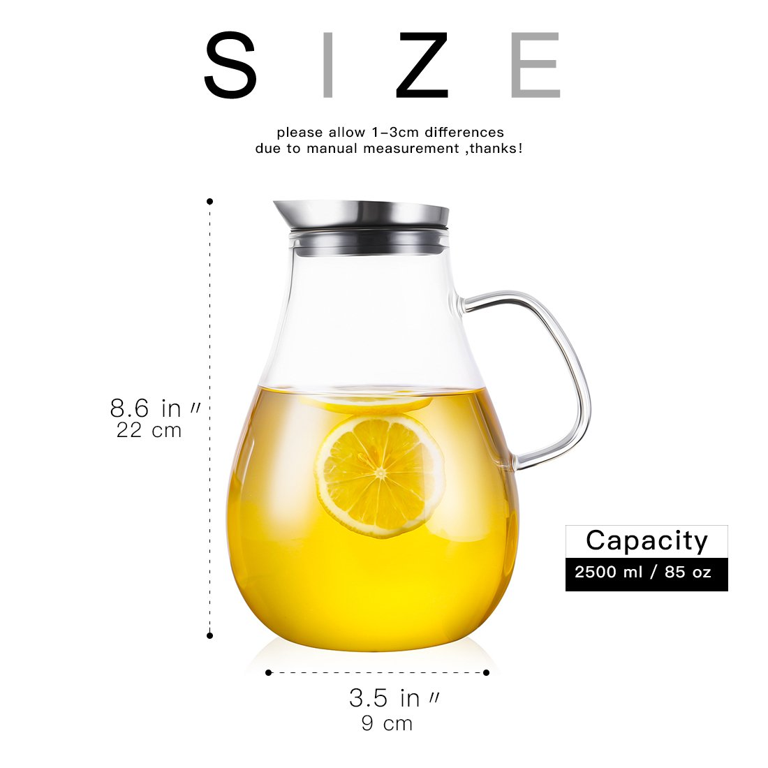 ONEISALL 85 Ounces Large Heat Resistant Glass Beverage Pitcher with Stainless Steel Lid, Borosilicate Water Carafe with Spout and Handle, Perfect for Homemade Juice & Iced Tea by Weisier (Image #4)