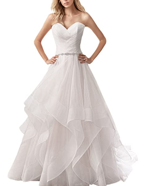 Strapless A Line Tiered Tulle Wedding Dress For Bride Bridal Gown