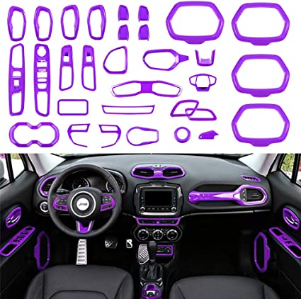 Audio Sound Switch /& Air Condition Cover Ring Trim For 2015 Jeep Renegade Blue