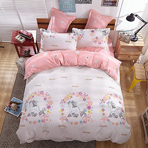 KFZ Girls Magic Unicorn Bed Set [4pcs King Size Bedding 86''x94''- Flat Sheet,Duvet Cover Pillow Cases No Comforter] Pink Princess Worthy Theme, Quality Microfiber,Soft Material for Skin-Friendly by KFZ
