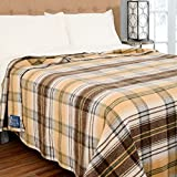 Poyet Motte Chevreuse Heavyweight Wool Blend Oversized Blanket, Machine Washable (Twin Size, Yellow Stripe)