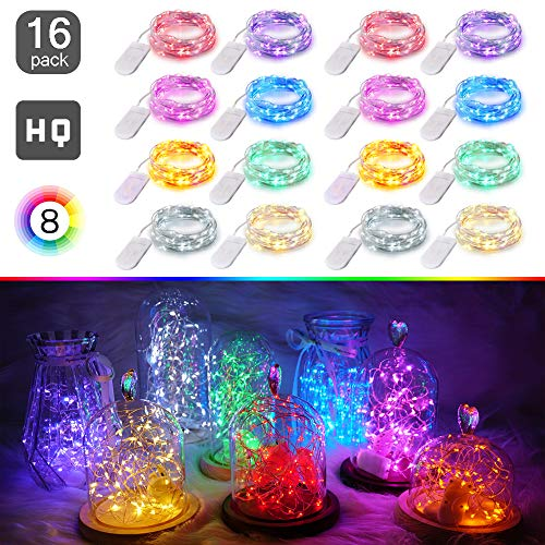 LED Fairy String Lights Battery Powered(Included), 16 Pack 20 LED 8 Colors Starry Lights, 6.6FT/2M Cooper Wire, Waterproof Firefly Lights in Bottles Jar For DIY Wedding Centerpiece, Table Decor, Party