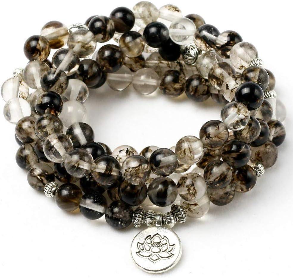 XBSZK Pulsera Negro sandía Corteza de Piedra Mala Collar y Pulseras para Hombres Yoga Pulsera Lotus 108 Perlas Pulsera Mujeres joyería