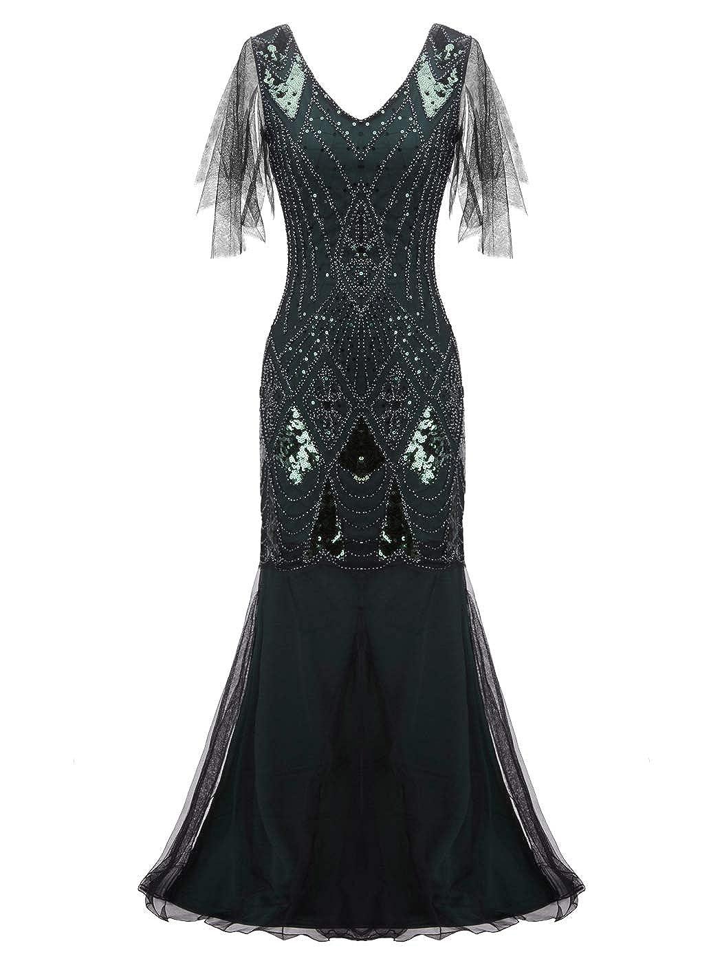 023green FAIRY COUPLE 1920s FloorLength VBack Sequined Embellished Prom Evening Dress D20S004