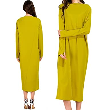 Loose Dress With Yellow Slash Neck Long Sleeves Plus Size Clothing