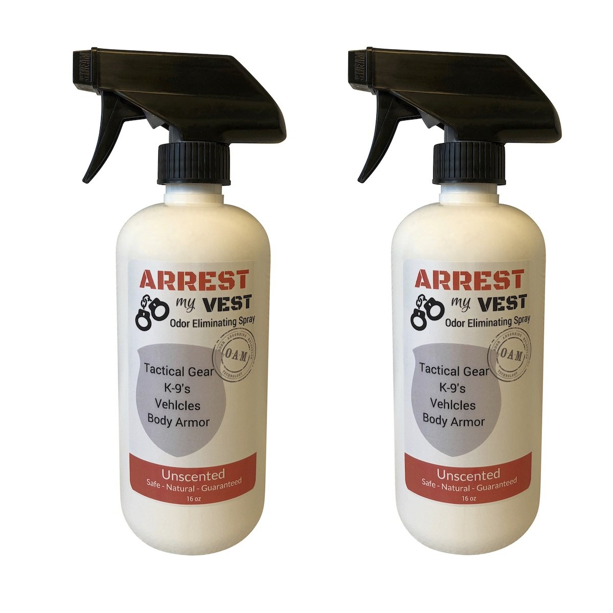 Arrest My Vest Body Armor Odor Eliminating Spray Safe on Kevlar and all other ballistic vests K9's and vehicles - Unscented - 2 16 oz Bottles