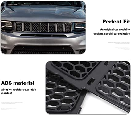 CherCar Black Front Grill Inserts Trim Honeycomb Mesh Grill Ring Cover Kit Fits Jeep Grand Cherokee 2014-2016 Exterior Decoration 3Pack