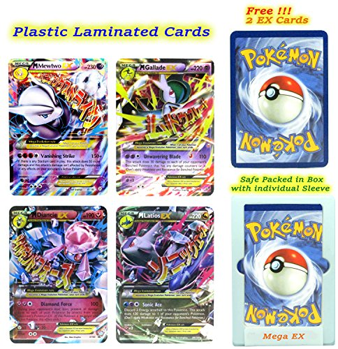 Spirit Halloween Promo Code (EX Mega Pack of 4 Mega– Mewtwo Gallade Diancie and Latios All Plastic Cardswith Free 2 EX Random All Flashy Cards English with Box and Sleeve.)