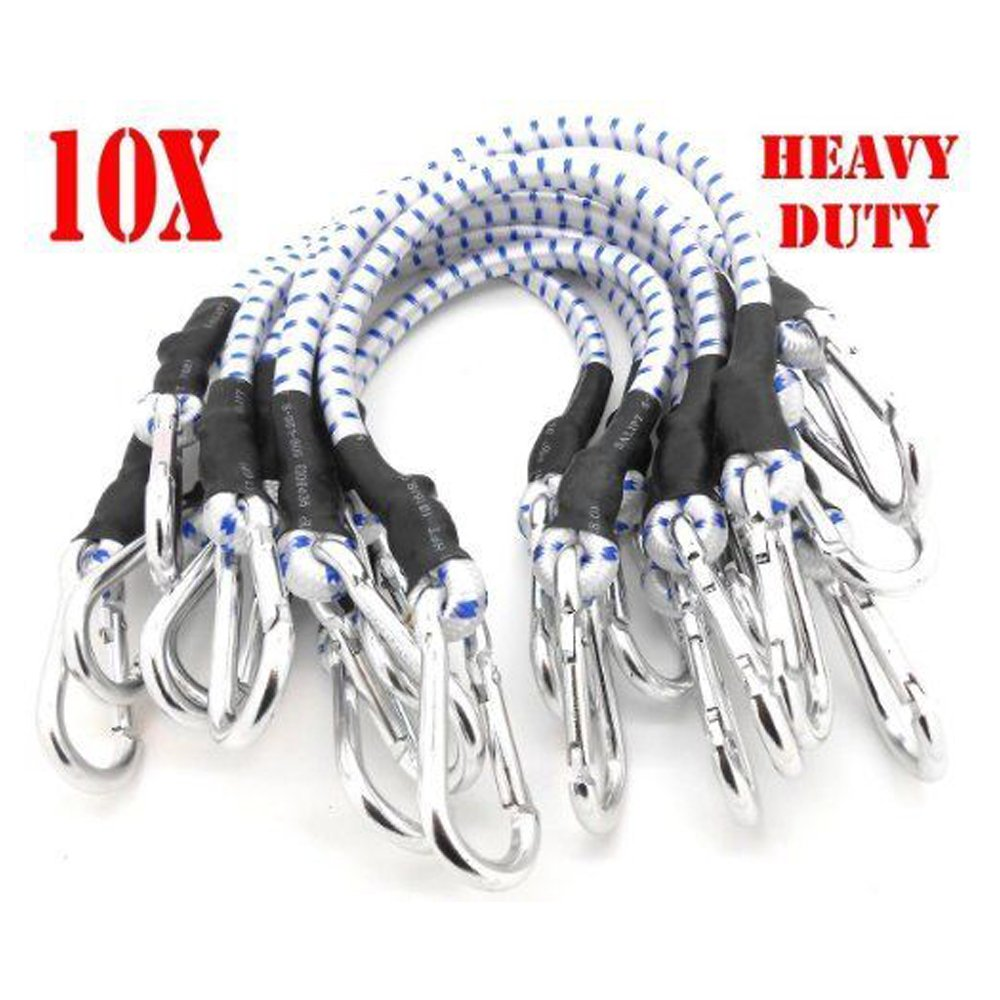 Simply Silver - Bungee Cords - 10PC 18'' Heavy Duty Bungee Cords 18 inch Long Bungee Thick Tie Downs w/ Hooks