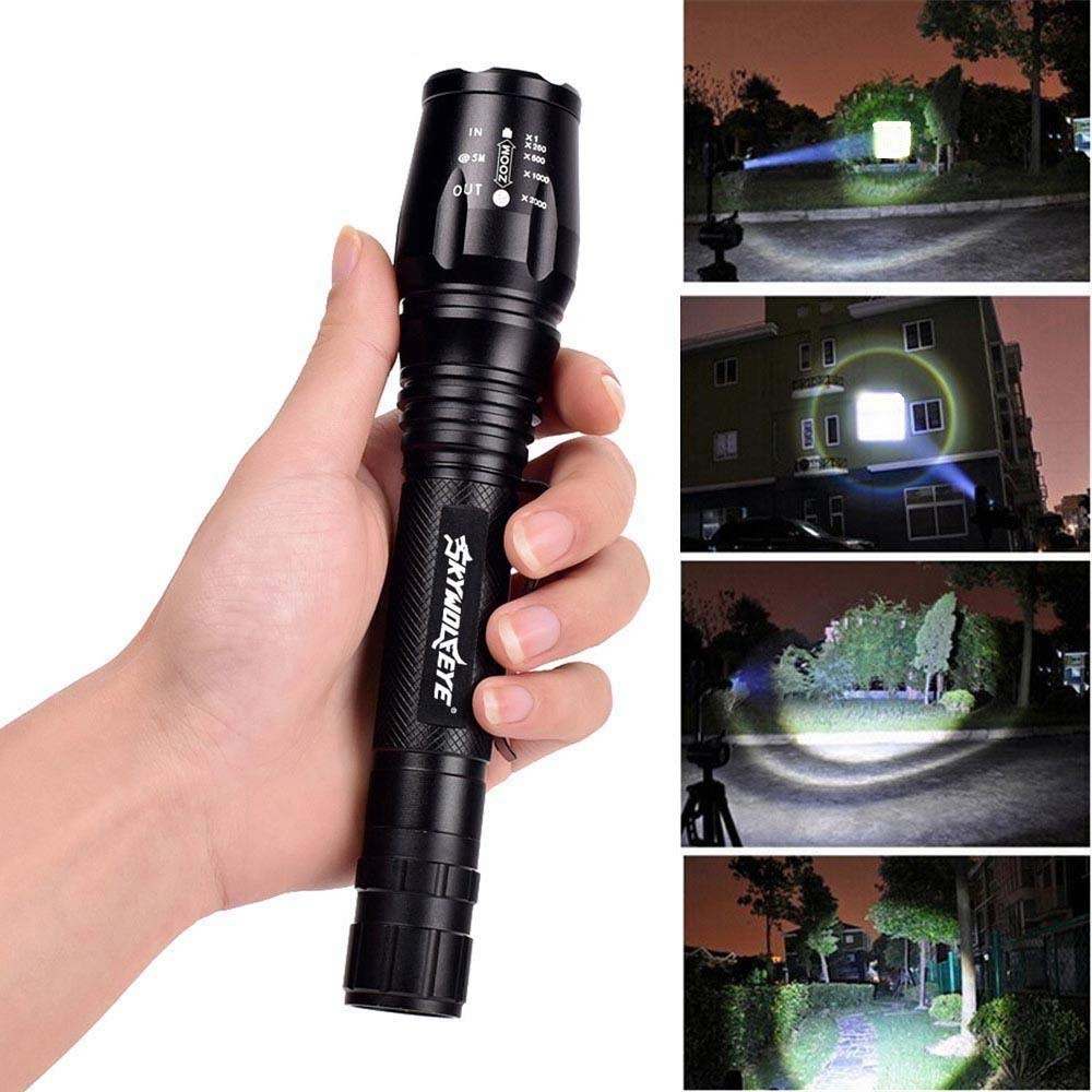 Bike Mount Holder for Outdoor Camping Hiking 2 Sets Rechargeable Flashlights Zoomable Adjustable Focus Flashlight with 18650 9900mAh 3.7V Battery Battery Charger