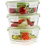 Living Express 6 Pieces Glass Food Storage Container Set (3 containers +3 lids) with Snap Locking Lid,Airtight,Microwave,Oven,Freezer,Dishwasher Safe,27oz,BPA-Free (Square)