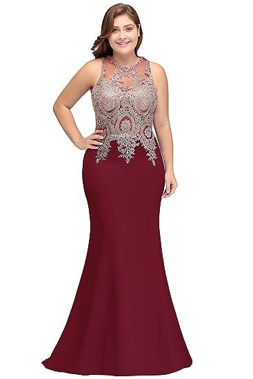 8ba5da53f97 Amazon.com  MisShow Women Lace Mermaid Prom Evening Gowns Long Formal Ball Gala  Dress  Clothing