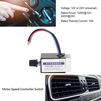 Drehzahlregler Schalter,Jectse DC 12V//24V 10A verbesserter Universal-Motordrehzahlregler-Schalter mit K/ühlk/örper f/ür Einstellung der Geschwindigkeit von Heizl/üftern Defroster L/üftern usw