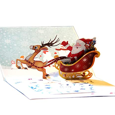 Bands Without Stones 2019 3d Pop Up Holiday Greeting Cards Santas Sleigh Deer Christmas Gift