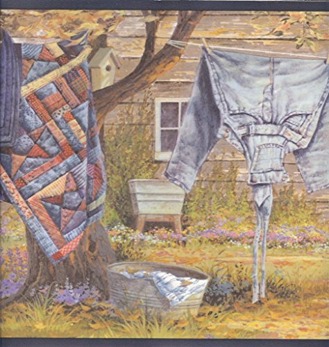 Clothesline Quilts (Wallpaper Border Country Clothesline Quilt, Jeans, Socks, Laundry)