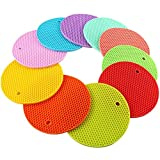 SHZONS 5pcs/Pack Extra Thick Round Honeycomb Shape Silicone Trivet Mat,Hot Pads Slip Silicone Insulation Mat Coaster For Home Use(Random Color)