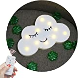 Obrecis Novelty Light Up Cloud Marquee Sign, Remote Control Cute Cloud Marquee Light White Printed Cloud Lamp for Birthday Party, Home Decor (White Close Eyes Cloud)