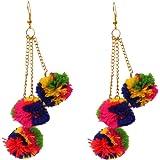 Kaizer Jewelry Pom Pom Multi-Colour Fabric Dangle & Drop Earrings For Women