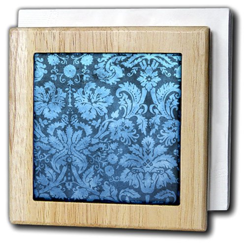 3dRose nh_32493_1 Aqua And Teal Green Fantasy Swirly Vintage Mandala On Black Background Napkin Holder 6'' Blue by 3dRose (Image #1)