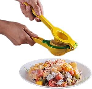 Smithcraft Premium Quality Metal Lemon Squeezer - Lime Presser - Manual Citrus Juice Press Hand-held Lime Juicer Color Yellow