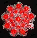 Retro Silver Tinsel Flower Christmas Tree Topper With Red Lights