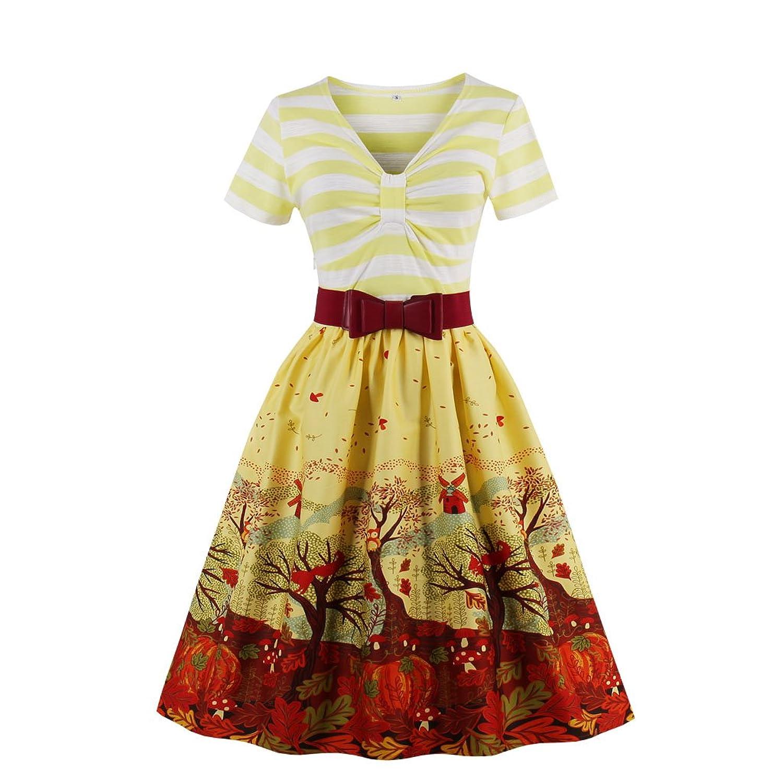Women's V Neck Short Sleeve Stripes Patterned Swing Dress