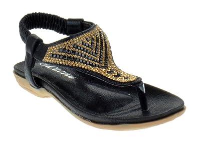 dc1633b581557 Lucita Crab 1748KS Little Girls Rhinestone Comfort Thong Sandals Black 5  Toddler