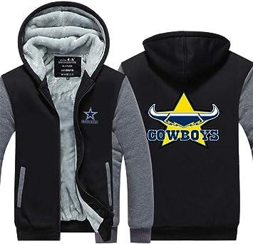 メンズパーカーフルジップベルベットCOWBOYSは冬に適し厚手のフード付きセーターコートフリースパーカーを、印刷します