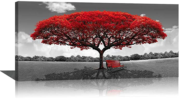 Large Black and White Picture Wall Art Framed Canvas Print Red Tree Bench Decor Modern Artwork for Living Room Bedroom Home Salon Decoration 24x48in