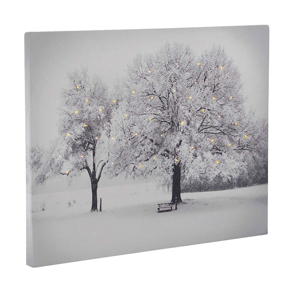 Leinwandbild mit LED-Beleuchtung 30 x 40 cm Wandbild Bä ume 40 Lichter Leuchtbild LED-Bild Fachhandel-Plus