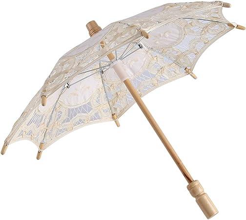 Paraguas de encaje vintage bordado de encaje de algodón puro para dama nupcial de boda sombrilla decoración de fotos (S-Marfil): Amazon.es: Hogar