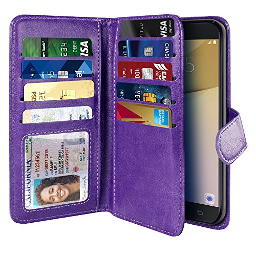 Phone Cell Snap Case (NEXTKIN Galaxy On7 2016 Case, Leather Dual Wallet Folio TPU Cover, 2 Large Pockets Double flap Privacy, Multi Card Slots Snap Button Strap For Samsung Galaxy On7 2016/On Nxt/J7 Prime G610 - Purple)