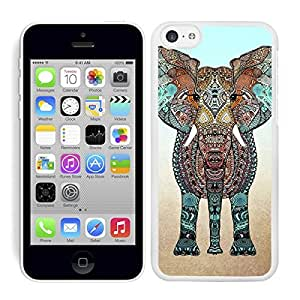 FUNDA CARCASA PARA IPHONE 5C DISEÑO ELEFANTE ESTAMPADO BORDE BLANCO