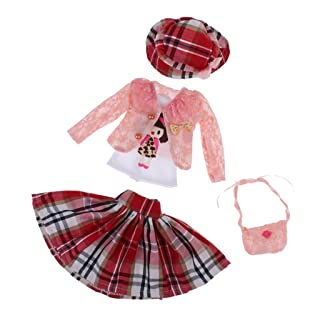 MagiDeal 5 Pezzi Berretto Gonna Maglietta Borsa Sacchetto Cappello per Abigliamenti da Bambola