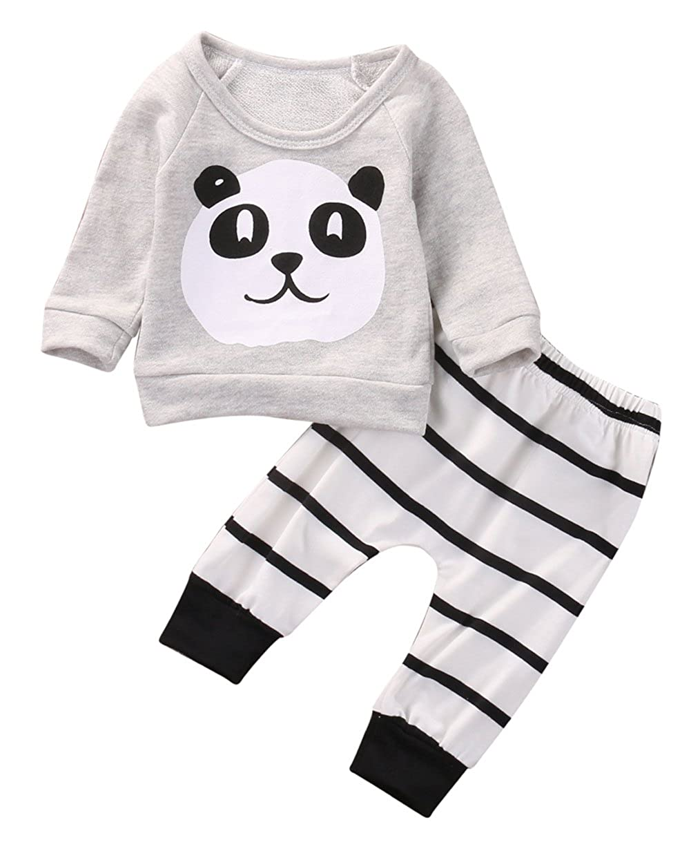 Infant Baby Girl Boy Long Sleeve Panda Sweatshirt Tops+Striped Pants Outfit
