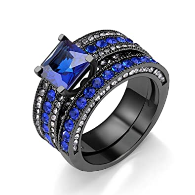 black stainless steel princess cut sapphire simulated cubic zirconia band bridal wedding ring set - Sapphire Wedding Ring Sets