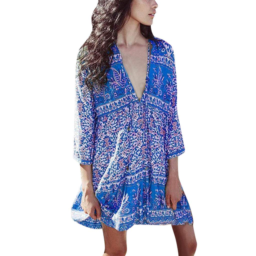 2019 Fashion Women Summer Sexy Deep V Neck Dresses Casual Loose Oversize Lady Bohemia Floral Printed Short Mini Dresses (Blue, X-Large)