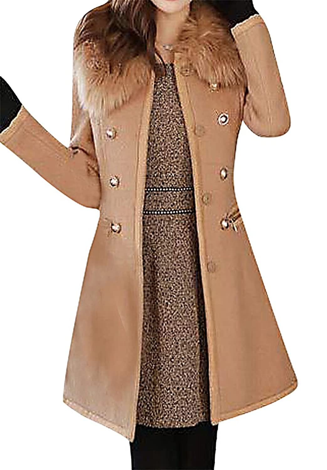 US&R, Women's Fitted Faux Fur Wool Blend Trench Coat Winter Fashion Jacket