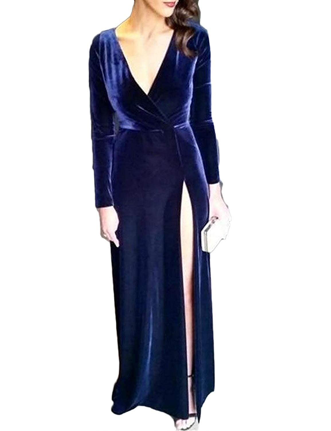 Royal bluee Sulidi Women's Velvet Long Sleeve Mermaid Prom Dresses V Neck Open Back High Slit Side Evening Formal Party Gowns C183