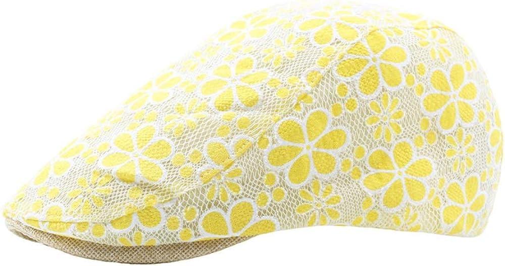 ZYC Sommer Baumwolle Damen Visier Blume Stickerei Spitze Hohlkappe Vorw/ärtskappe Bel/üftung Baskenm/ütze Kappe schieberm/ütze