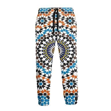 Ye Hua Pantalones de chándal de vellón para Hombre con Estampado ...